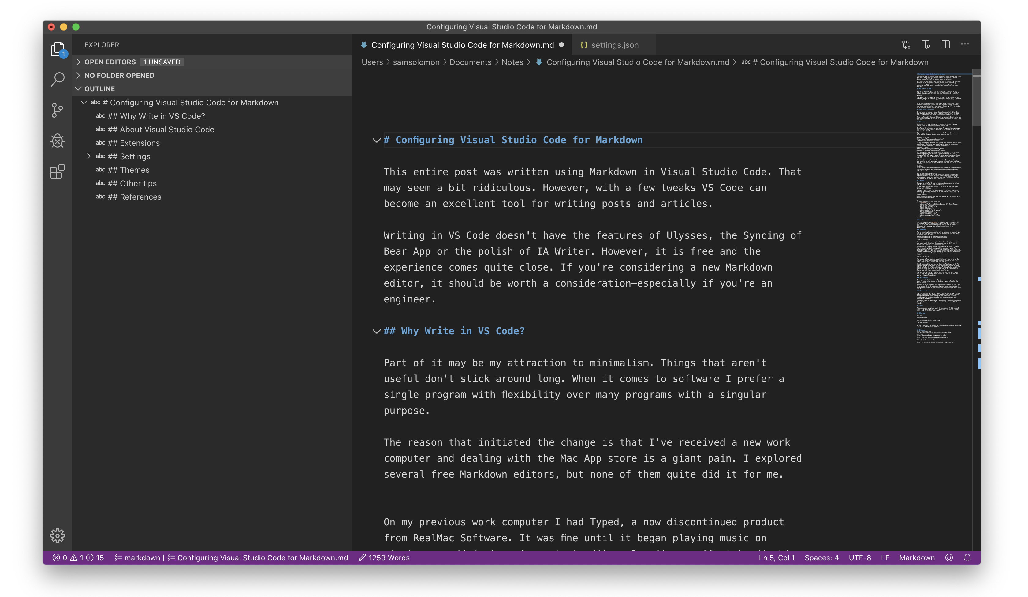 Configuring Visual Studio Code for Markdown